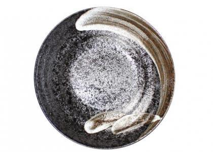 White Brush On Black Open Serving Plate