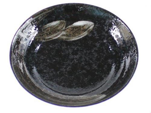 White Brush On Black Open Serving Plate